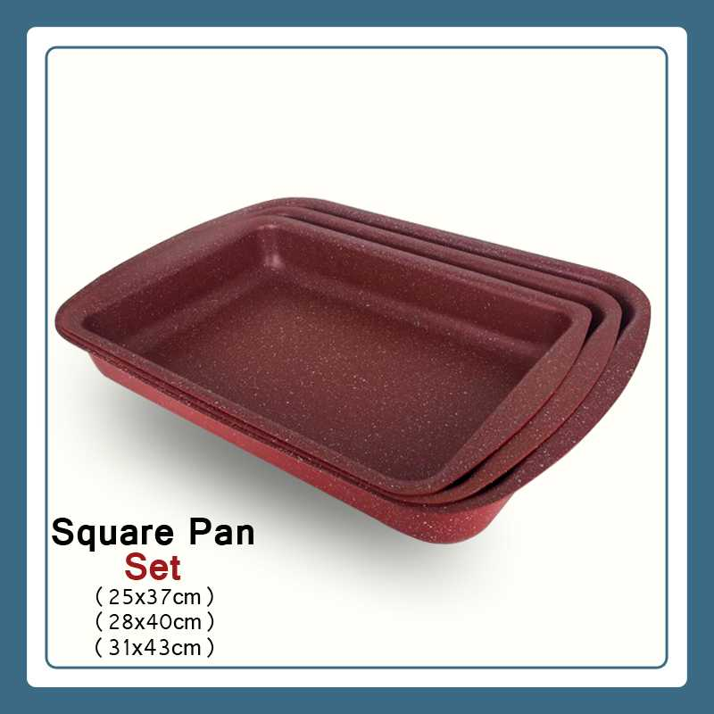 Square Pan Granite set 3 pcs  Nonstick Bakeware