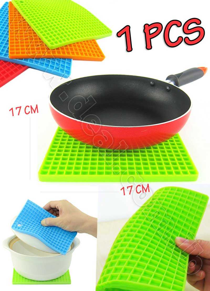 1 Pcs Silicone Placemat Heat Resistant Bowel Dish Tableware Mat Holder Square