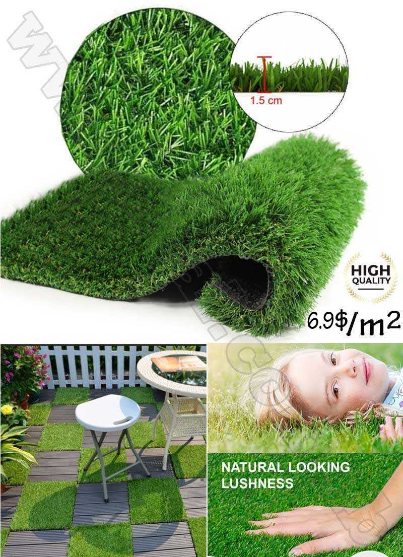 1.5Cm Thick Artificial Grass Lawn Encryption Plastic Artificial Turf Grass Carpet