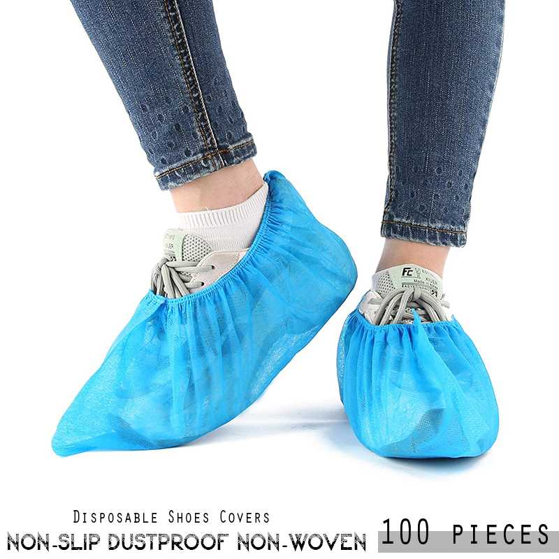 100pcs  Disposable Shoes Covers Non Slip Dustproof Non woven Shoe Protector for indoor and outdoor Blue