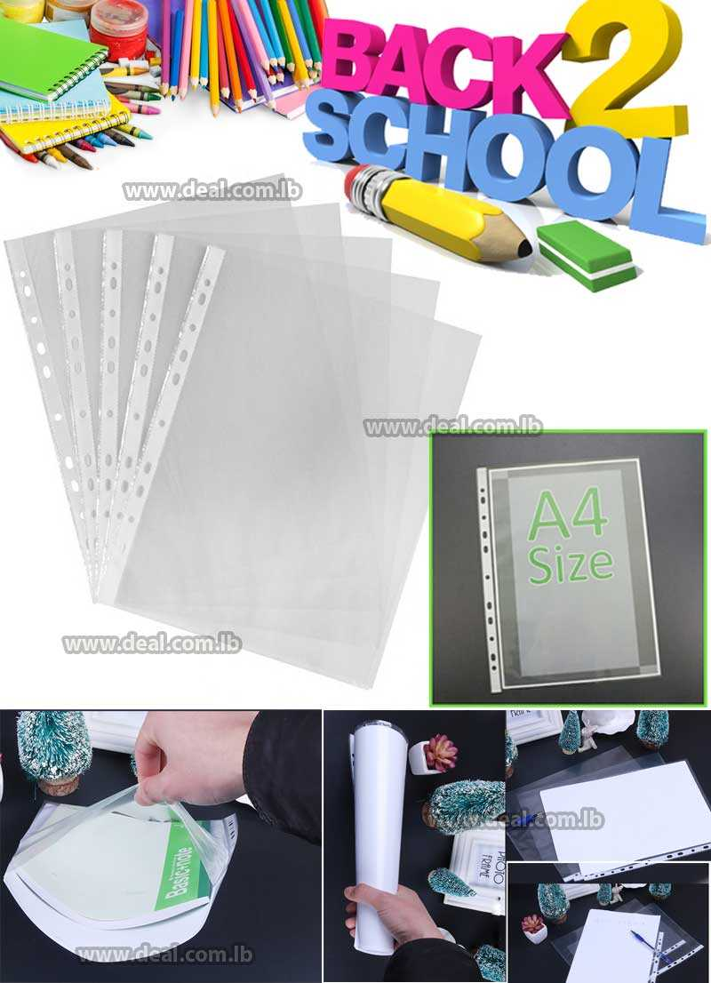 1 Hole Clear Sheet Protectors For Ring Binder