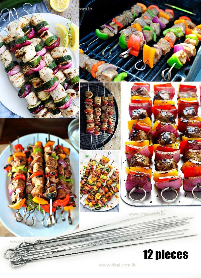 12 Pieces Grilled  Stainless Steel BBQ kebab