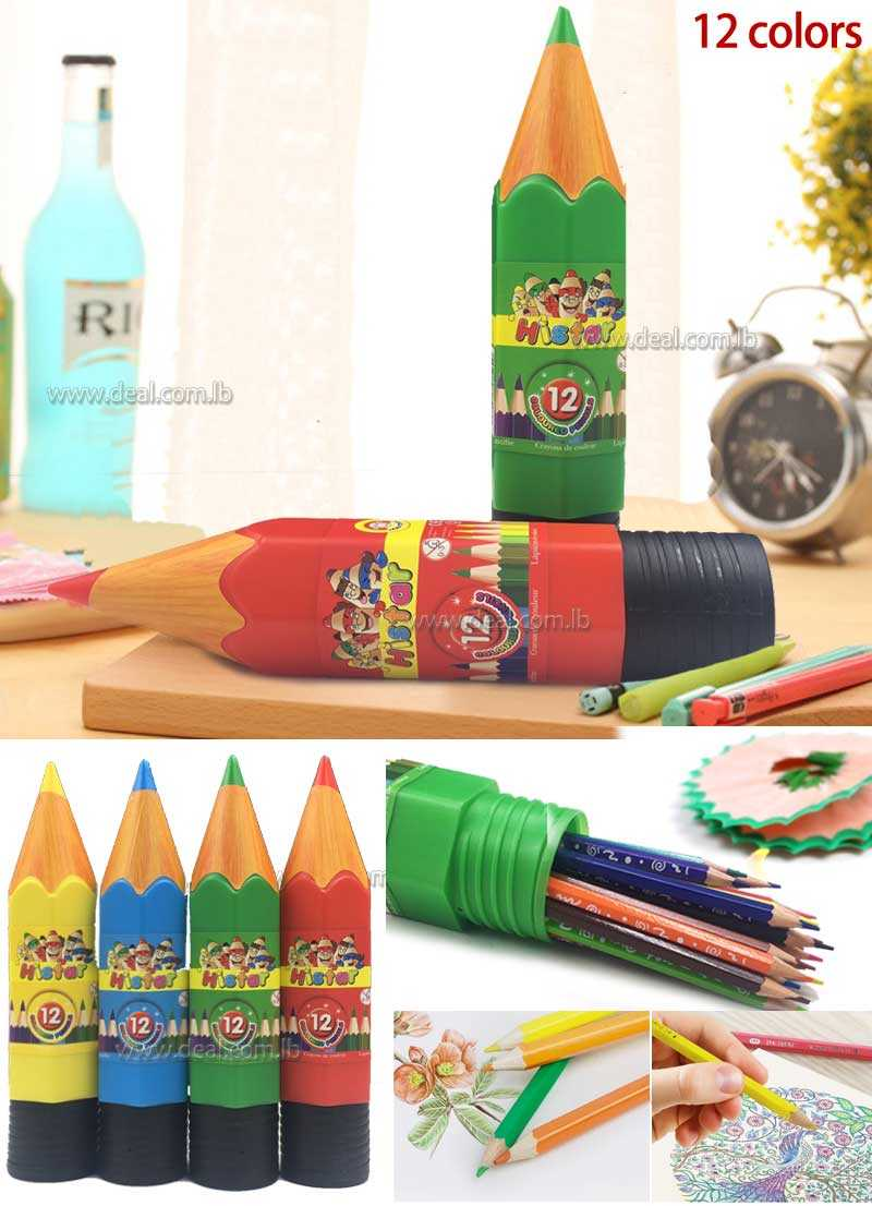 12 coloured pencil with pencil shaped pack