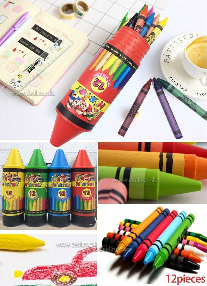 12 pieces Non toxic  wax colors pencil shaped color pack