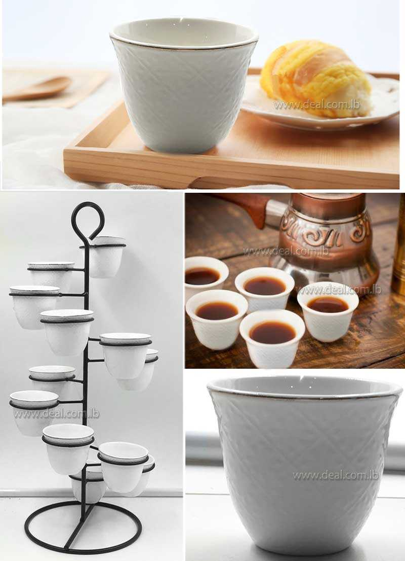 12 pieces white porcelain coffee set with stand