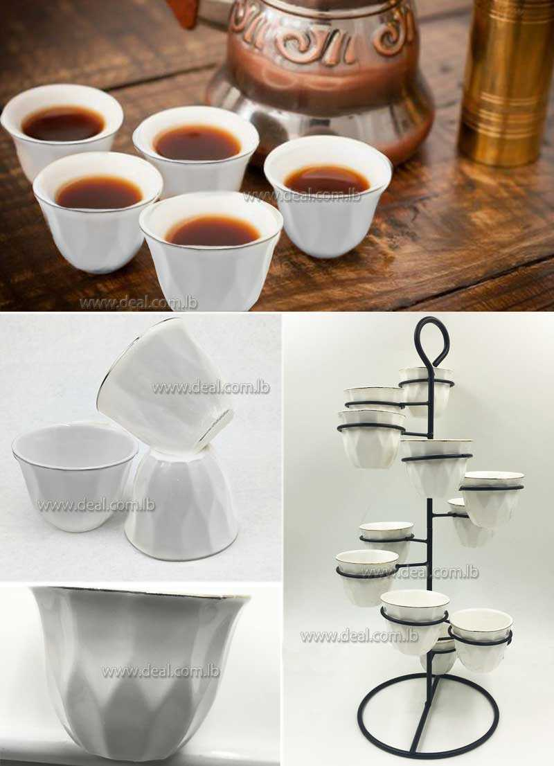 12 pieces white porcelain turkish arabic coffee cups with stand