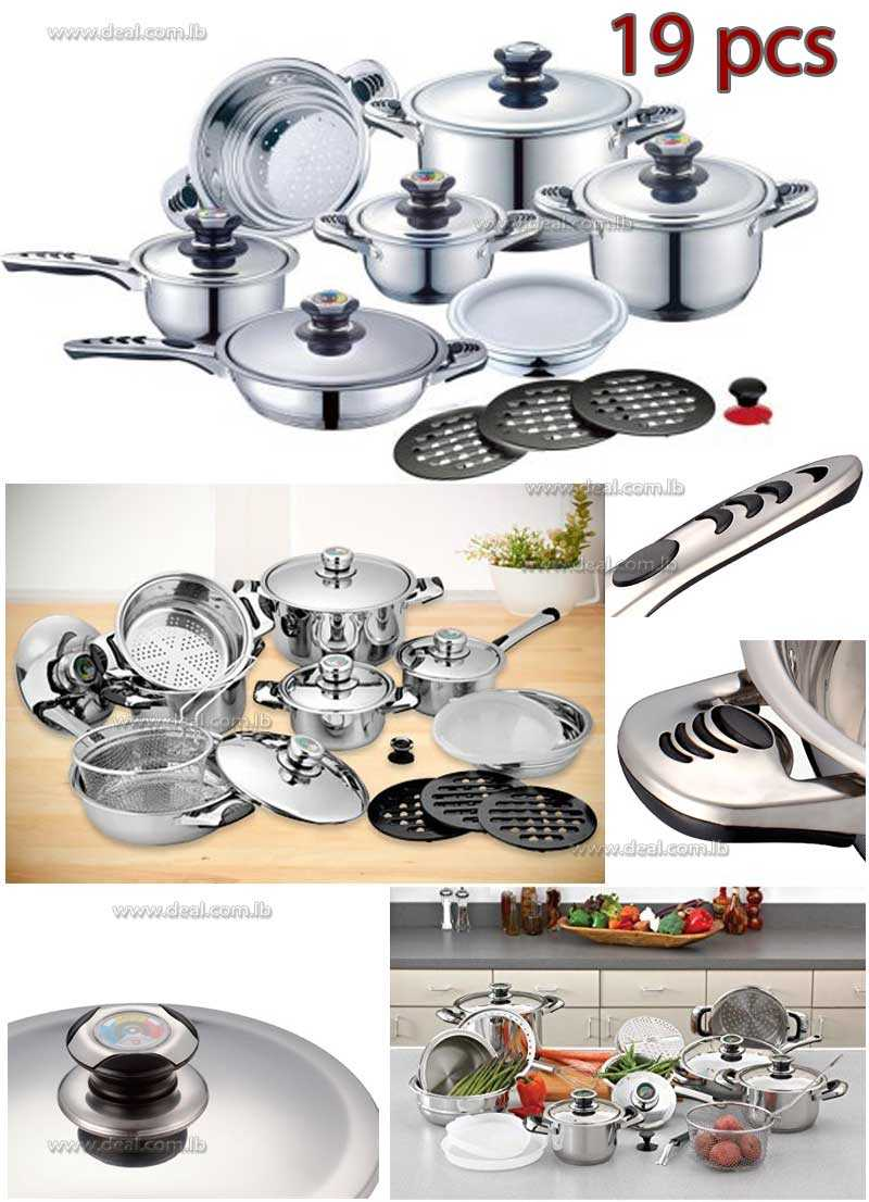 19 PC Stainless Steel Cookware Set with 9 layer Capsuled Bottom & Thermostat Lids