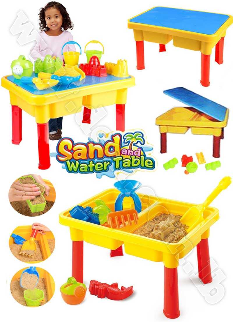 2 IN 1 FUN BEACH SAND & WATER BEACH PLAY TABLE SANDPIT CHILDREN ACCESSORIES TOY SET