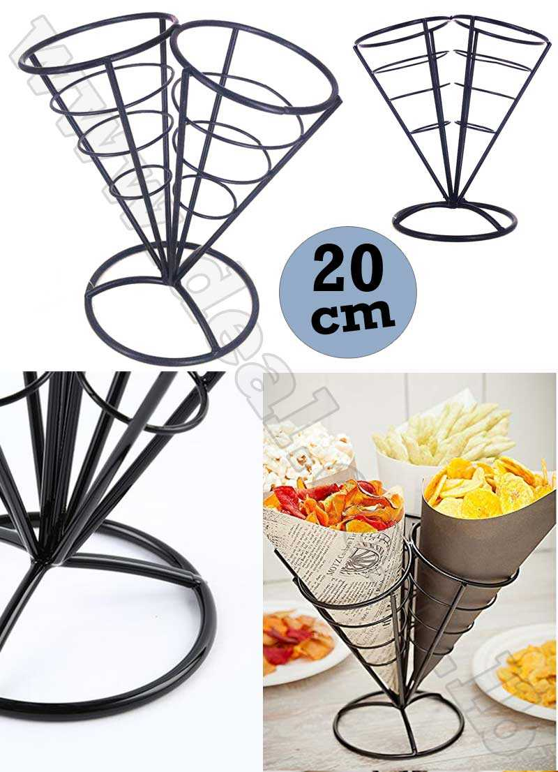 2 In 1 French Fry Stand Cone Basket Holder Black Iron