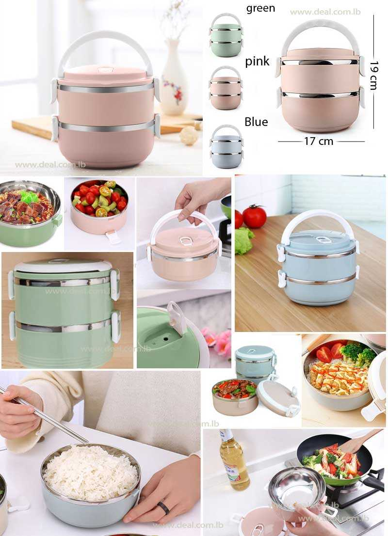2 Layers Therma Lunch Box Fashion Portable Stainless Steel Lunch Outdoor Picnic Food Container