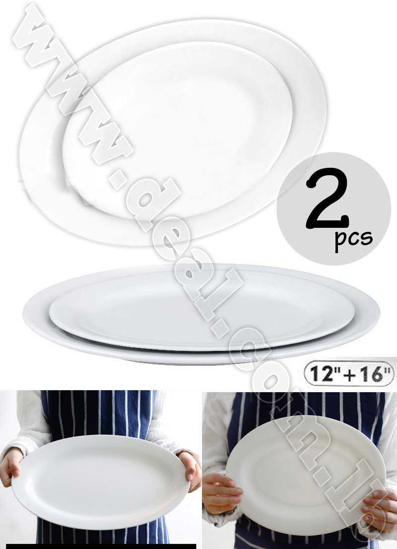 2 Pcs Ceramic Oval Plate 12'' + 16''