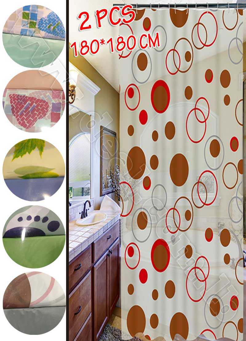 2 Pieces Shower Curtain