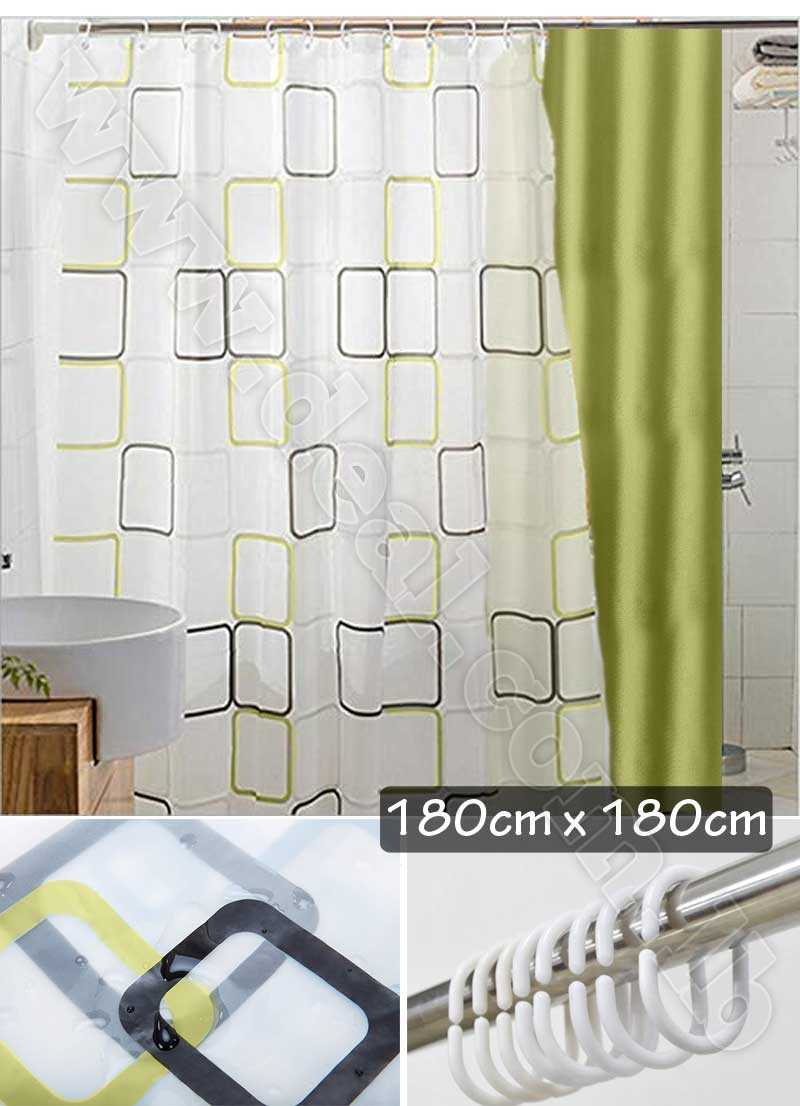 2 Pieces Shower Curtain Decorative PEVA