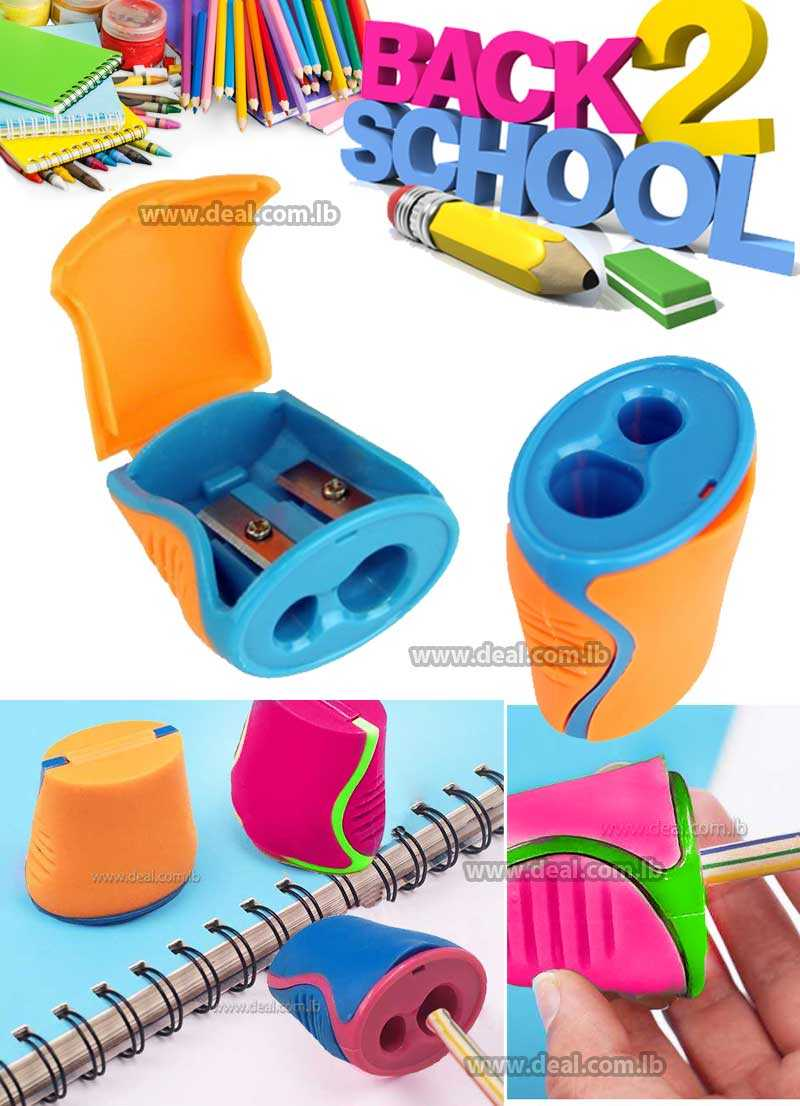 2 holes colored school sharpener with pack