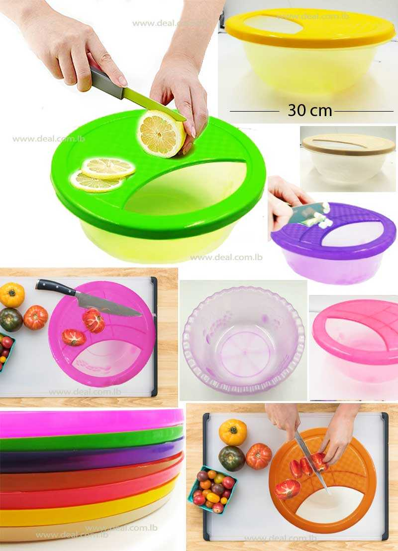 2 in 1 Plastic Cutting Board With Round Bowl