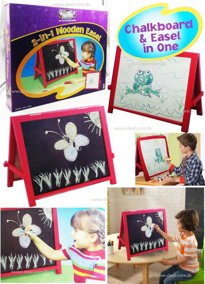 2 in 1 Wooden easel Chalkboard And Easel In One