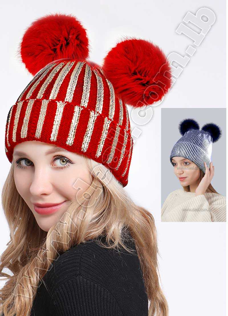 7202fc42a70 2 pom pom bronzing gold and silver with caps raccoon fur pompon hat for  women winter knitting warm hats female skullies beanies