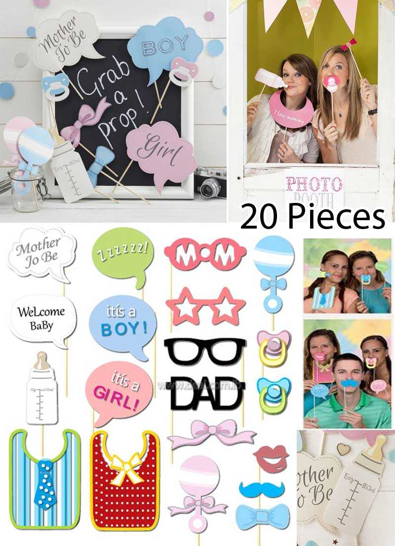 20 Pcs Photo Booth Props Photobooth For Or Boy Girl Baby Shower Party