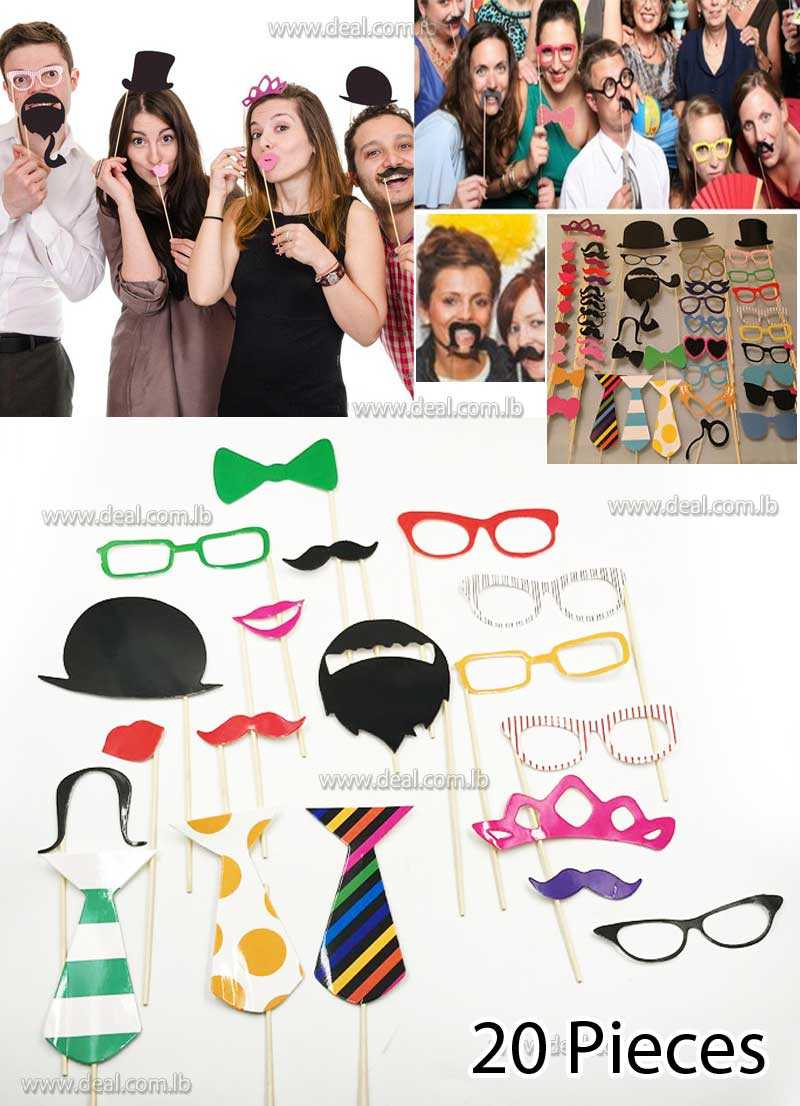 20 pcs Photo Booth Props Kit for Wedding Birthdays Graduate Party