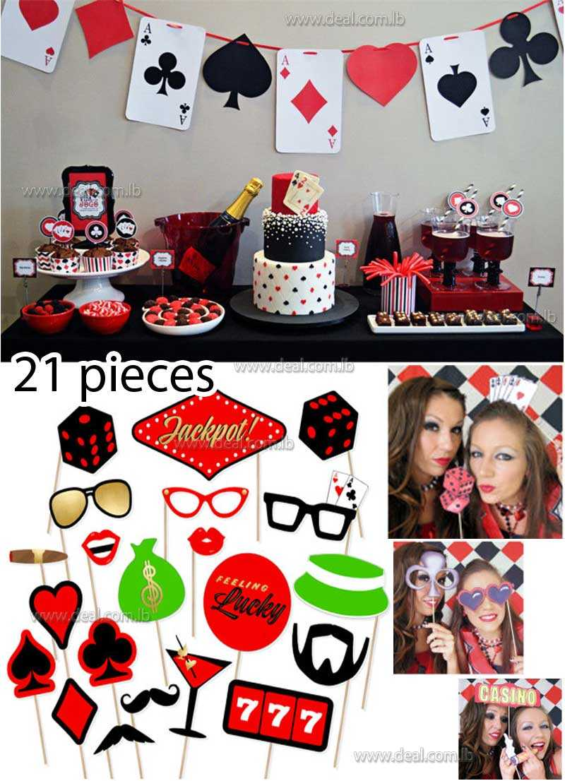 21 Pieces Printable Casino Photo Booth Props
