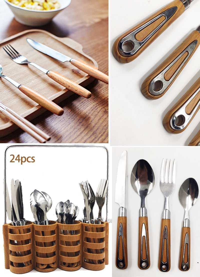 24 Pieces  Stainless steel wooden cutlery set