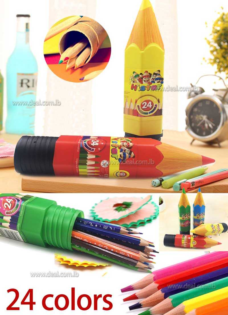 24 coloured pencil with pencil shaped pack