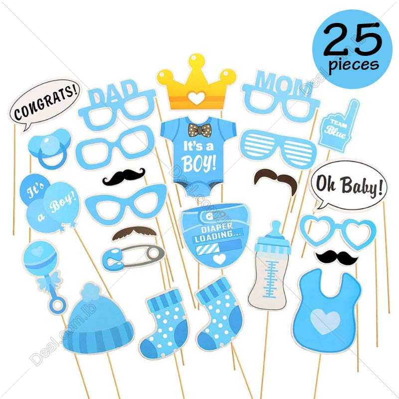 25pcs Its A Boy Baby Shower Party Photo Booth Props