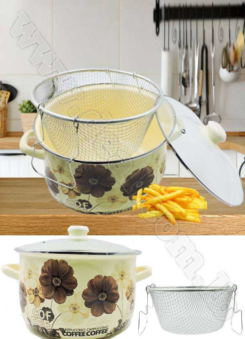 26cm Belly Enamel casserole with fried Basket