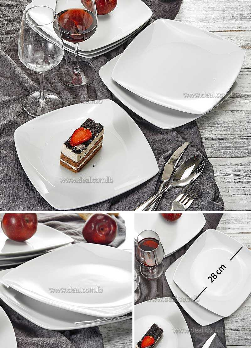 28+cm+Ivory+White+Side+Plate+Square+Porcelain+  sc 1 st  Deal.com.lb : white square side plates - pezcame.com
