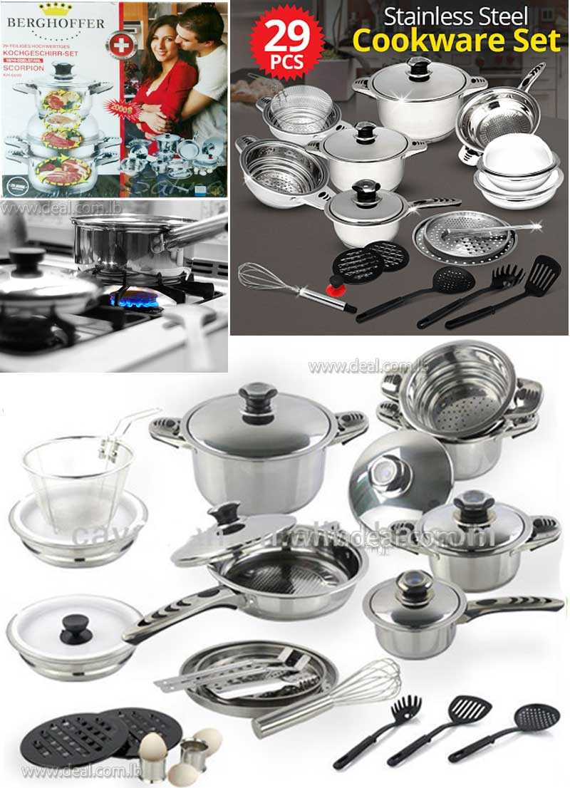29pcs stainless steel induction cookware set non stick