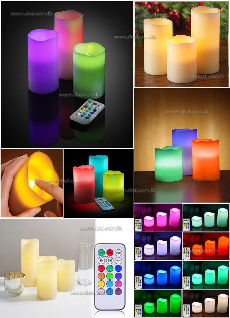 3 Flameless Candles with Color Changing Remote