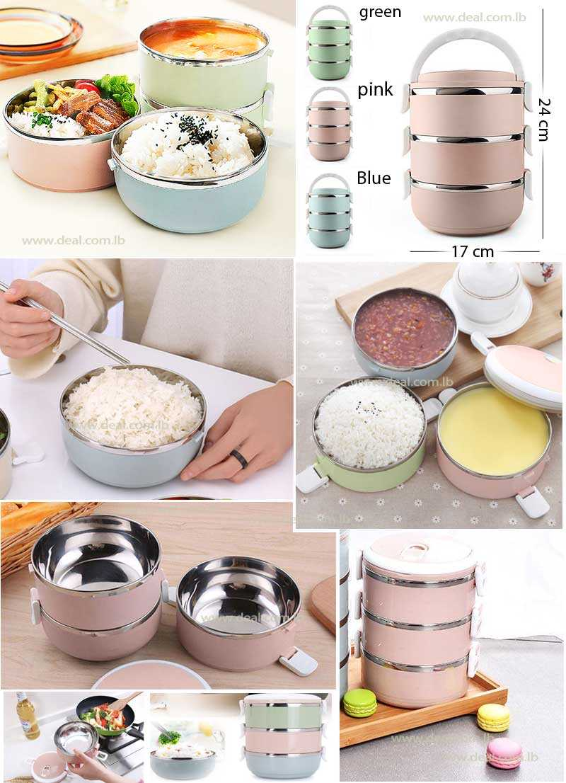 3 Layers Therma Lunch Box Fashion Portable Stainless Steel Lunch Outdoor Picnic Food Container