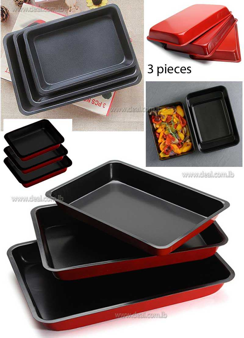 3 NON STICK PIECE BAKING ROASTING COOKING TRAYS