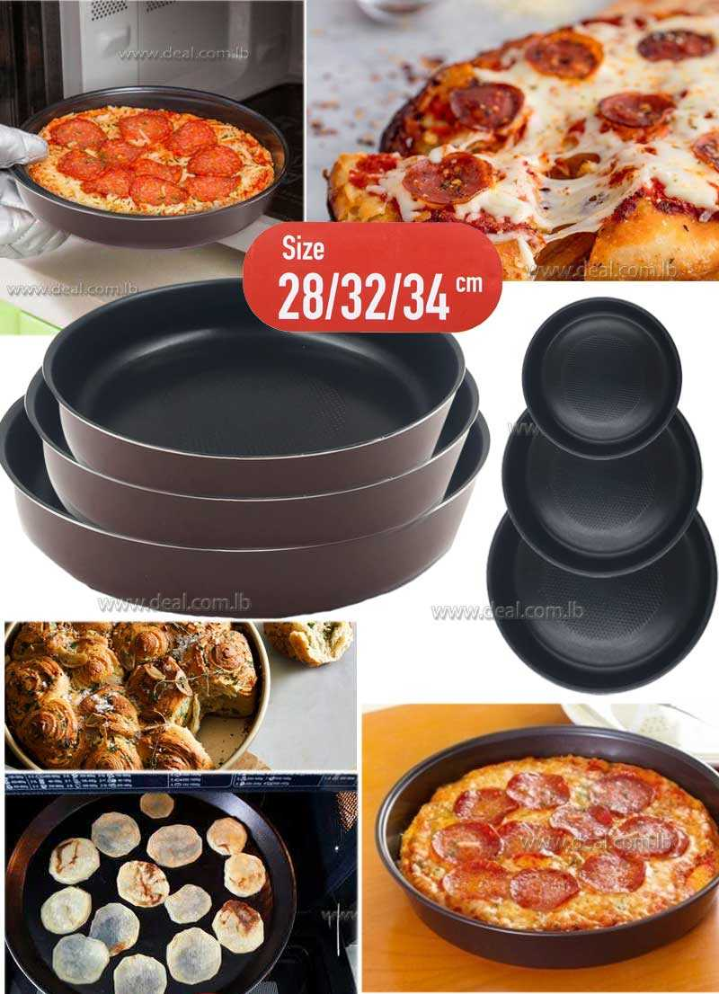3 Pcs Pan home baking round non stick coating oven 28,32,34cm