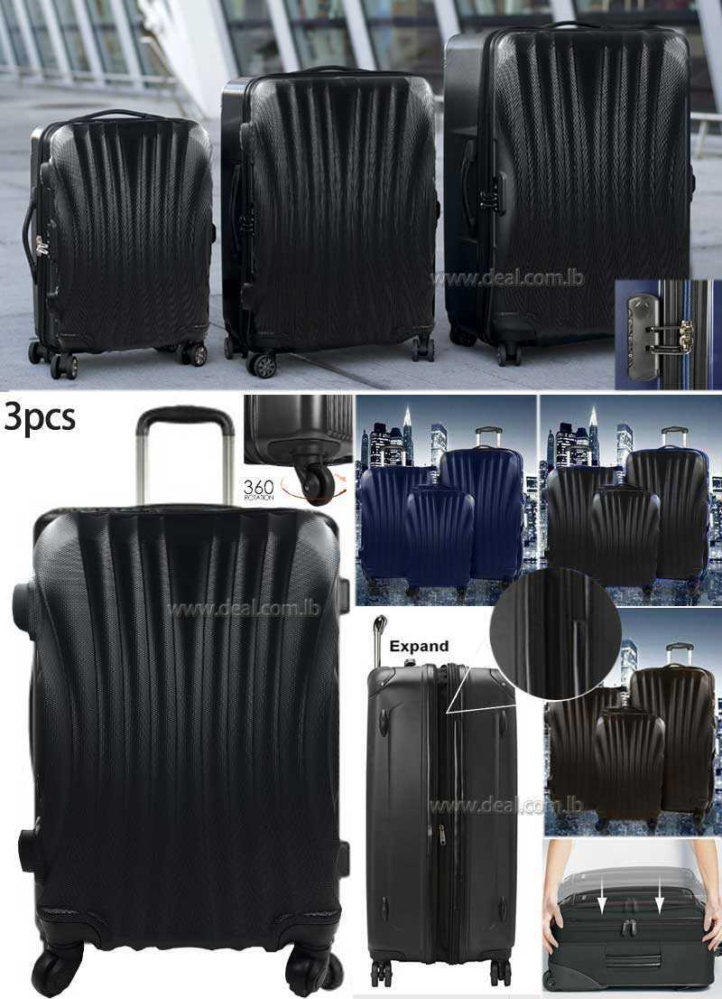 3 Piece Luggage Set Wheel Trolleys Suitcase Bag Hard Shell Travel