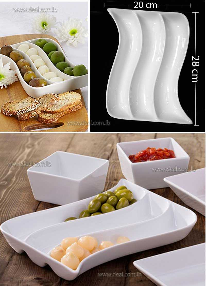3 Section White Porcelain Snack  Rectangular Wave