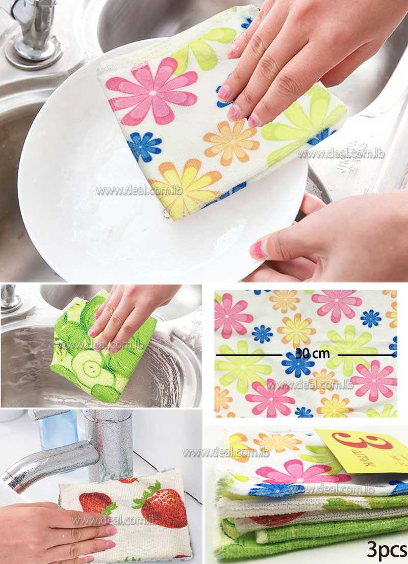 3 pcs Kitchen Towels Dish Cloth 30x30cm Absorbent Home Cleaning Wiping Rags