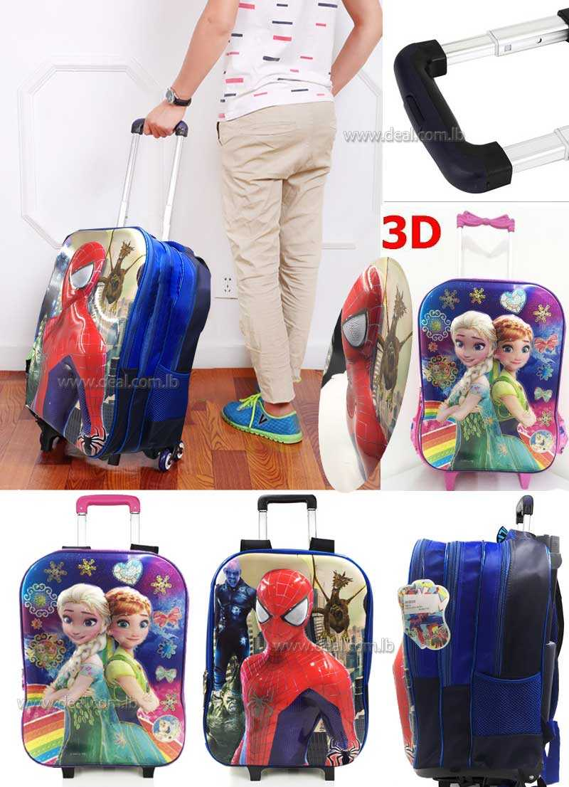 3 pockets 3d spiderman  and frozen children bag for kids with wheels