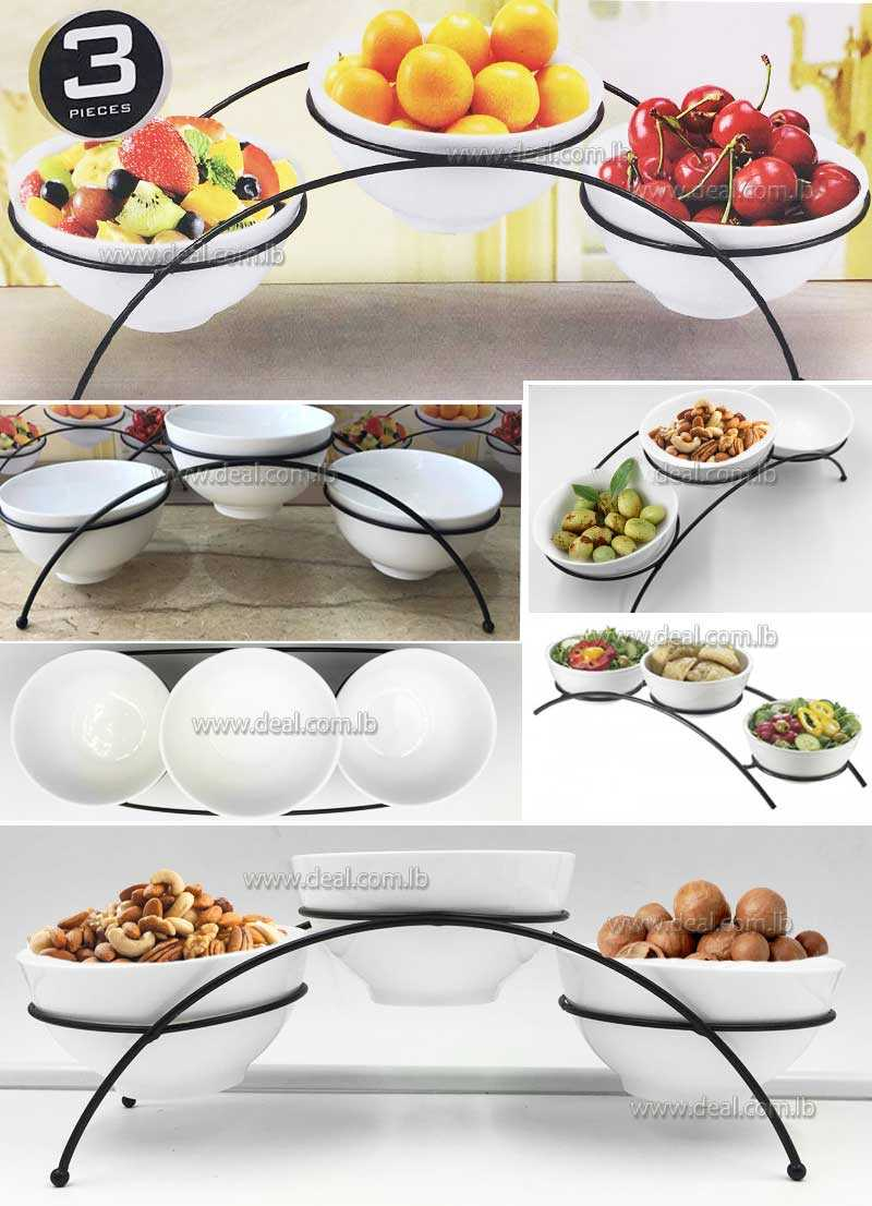 3 round  bowel with stand Melamine Arched Bowl Display