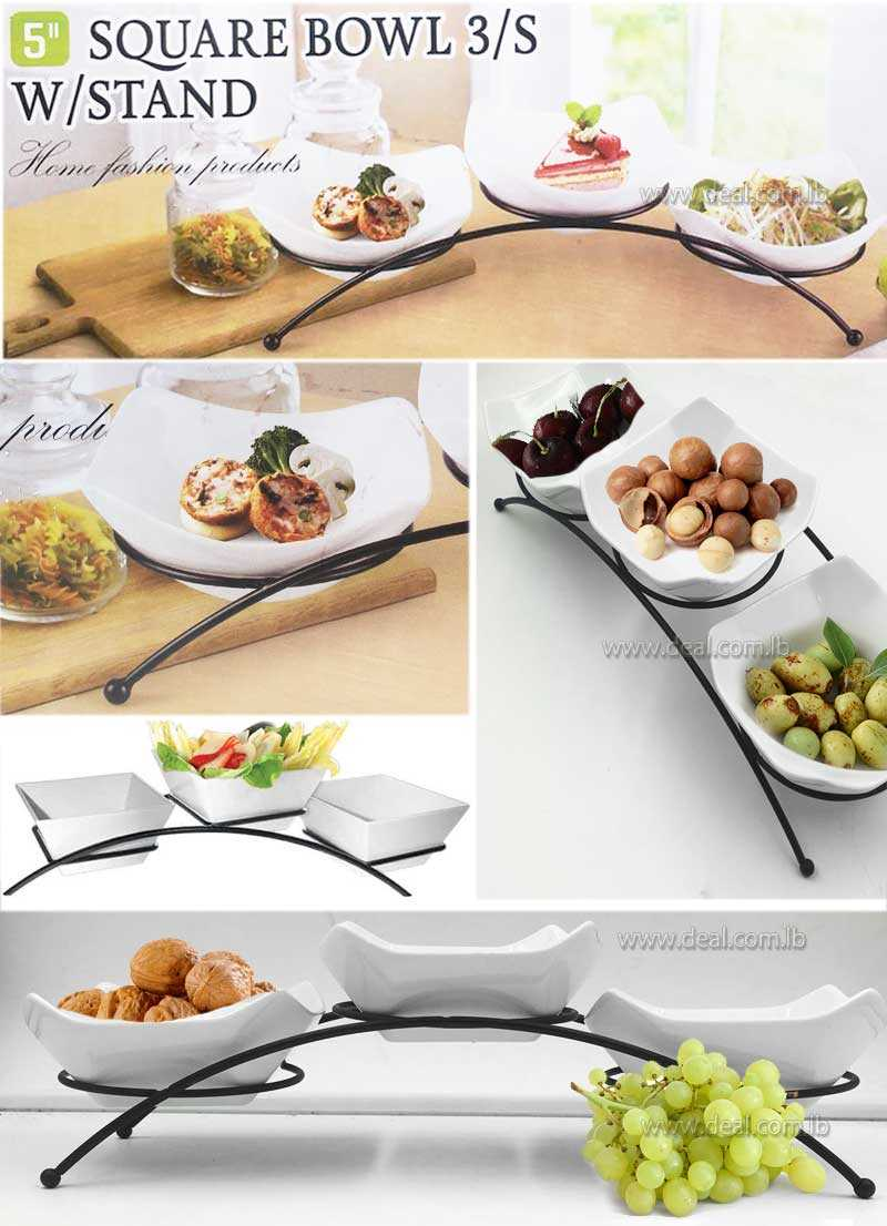 3 square bowel with stand Melamine Arched Bowl Display