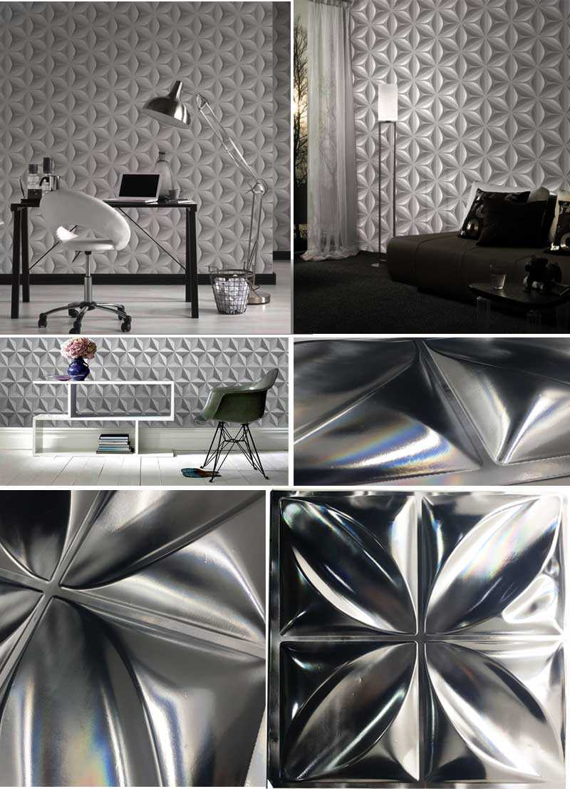 31cmx31cm+WALLPAPER+GEOMETRY+COLLECTION+TRIANGLES+3D+WHITE
