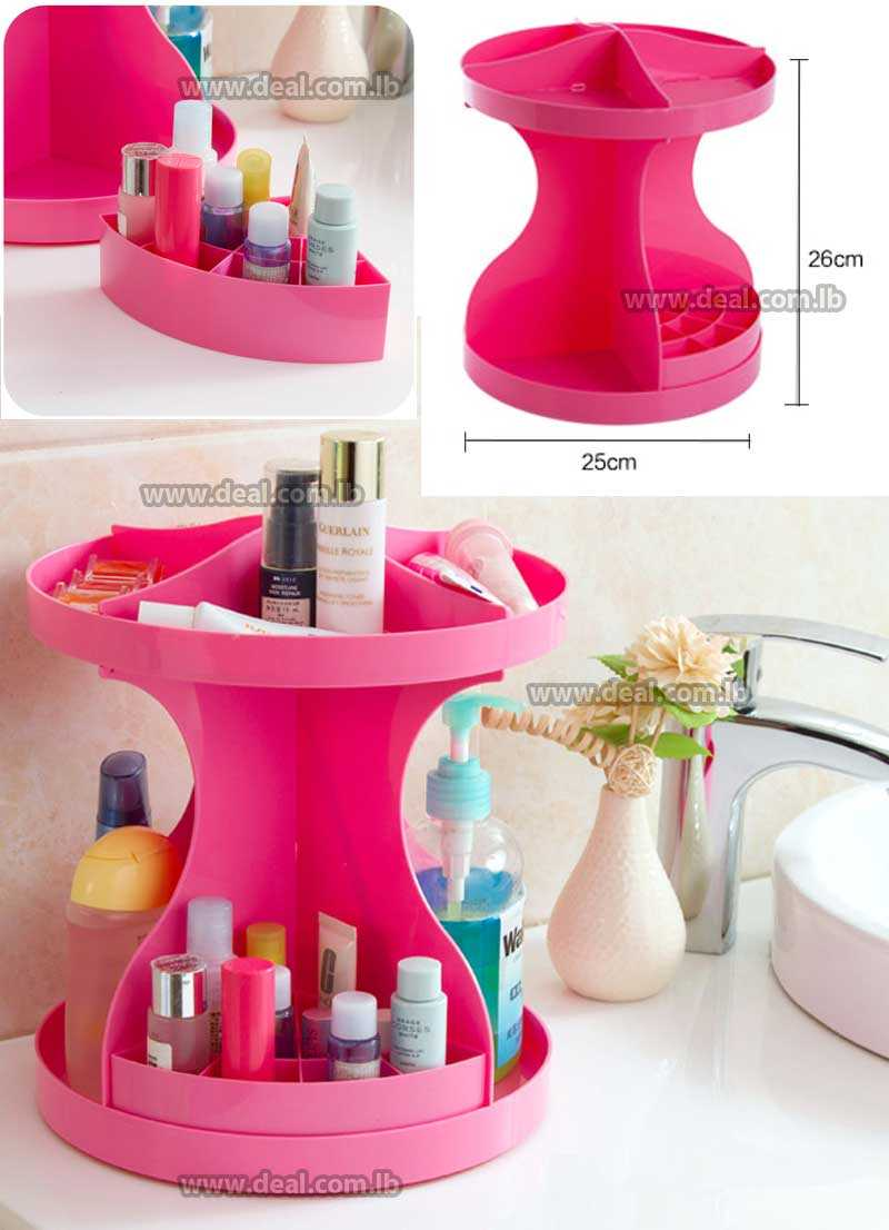 360 Degrees Makeup Organizer Rotating Acrylic Large Capacity tabletop Display Revolving Stylish Jewelry Storage Box