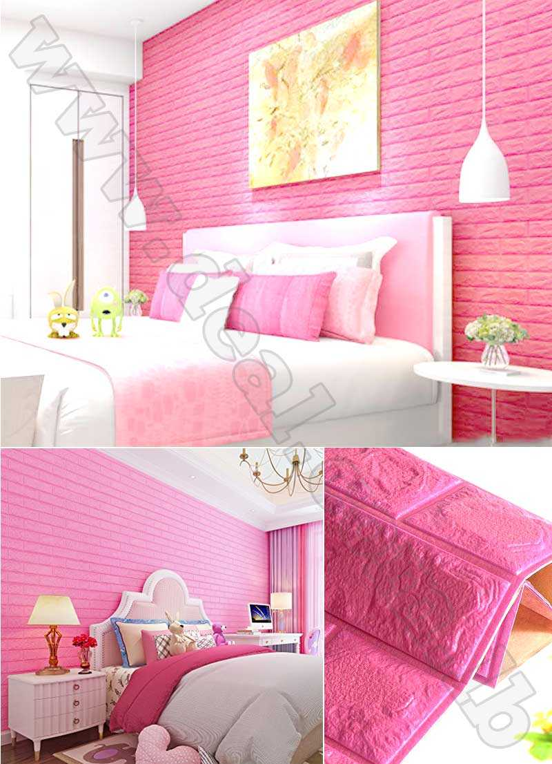 3D Pinky Foam Bricks Waterproof  Adhesive Wall Sticker