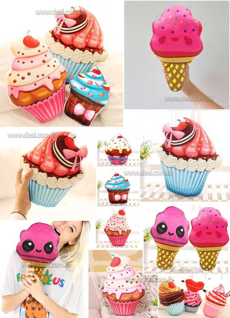 3D plush toy icecream cupcake pillow