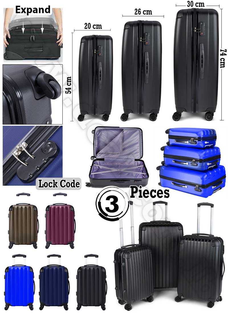 3pc ABS Luggage Suitcase Luxury Hard Case Shockproof Travel Set