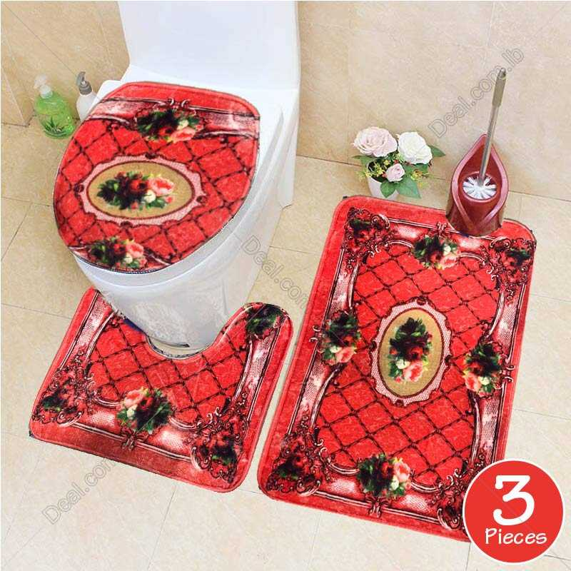 3pcs Red Color set European Style Anti skid Bathroom Toilet Mats