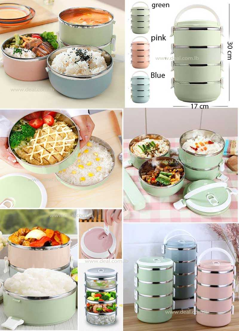 4 Layers Therma Lunch Box Fashion Portable Stainless Steel  Lunch Outdoor Picnic Food Container