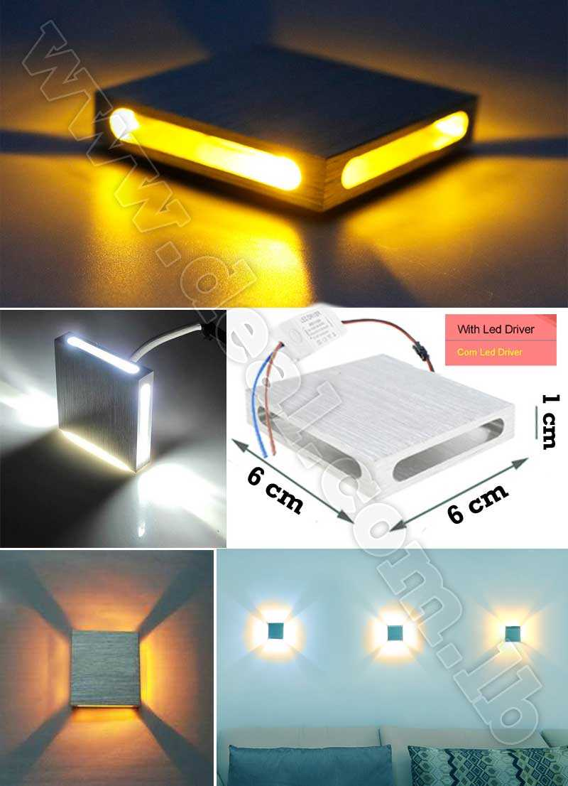 4+Sides+Aluminum+Square+Wall+Led+light+step+stair+lamp+3W+110V+220V