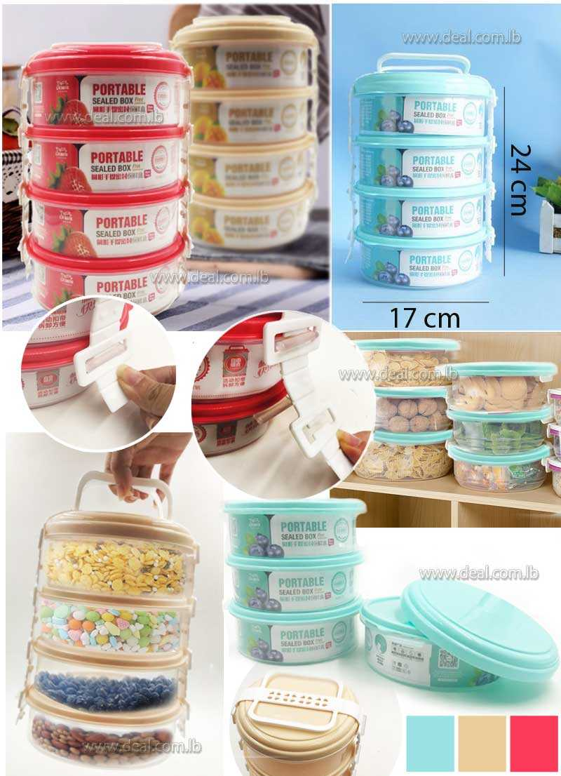 4 layers round portable sealable box 750ml