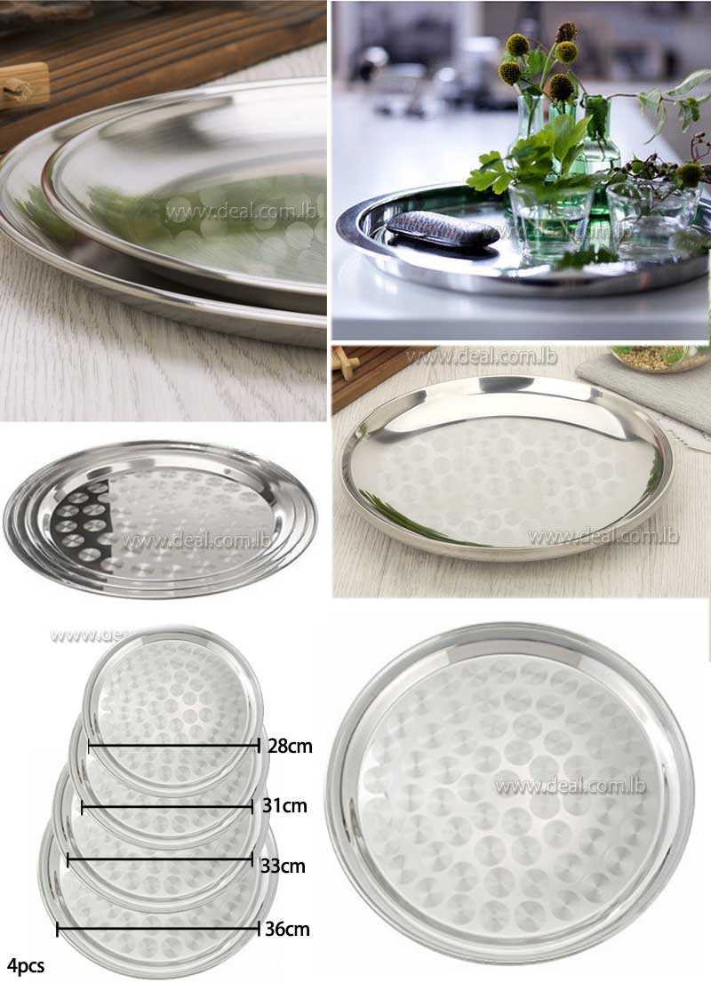 4 pieces  stainless steel Double layer dish hairline finish mirror fin Tray Dish buffet platter thickened circular